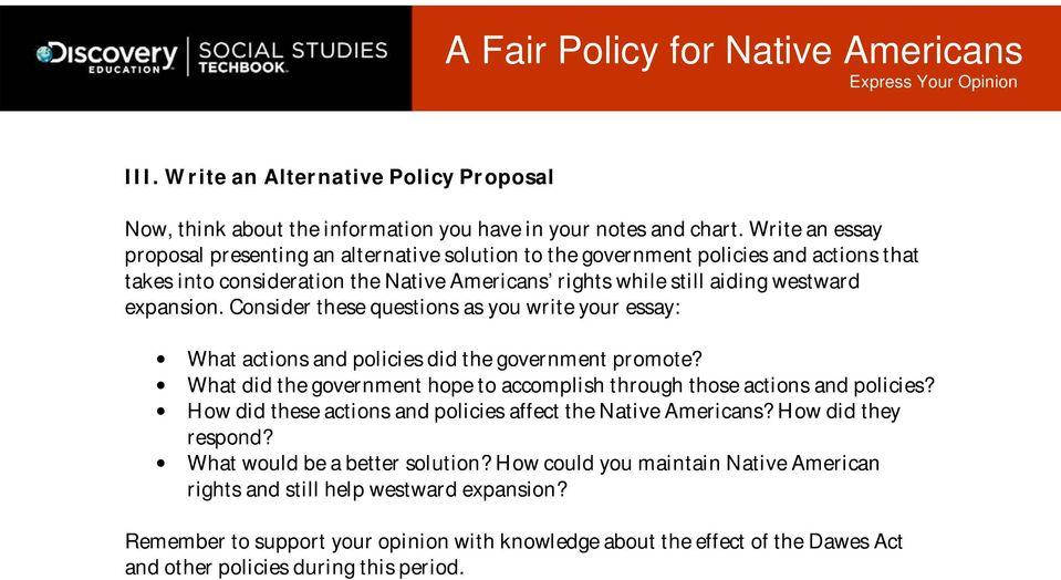 Consider these questions as you write your essay: What actions and policies did the government promote? What did the government hope to accomplish through those actions and policies?