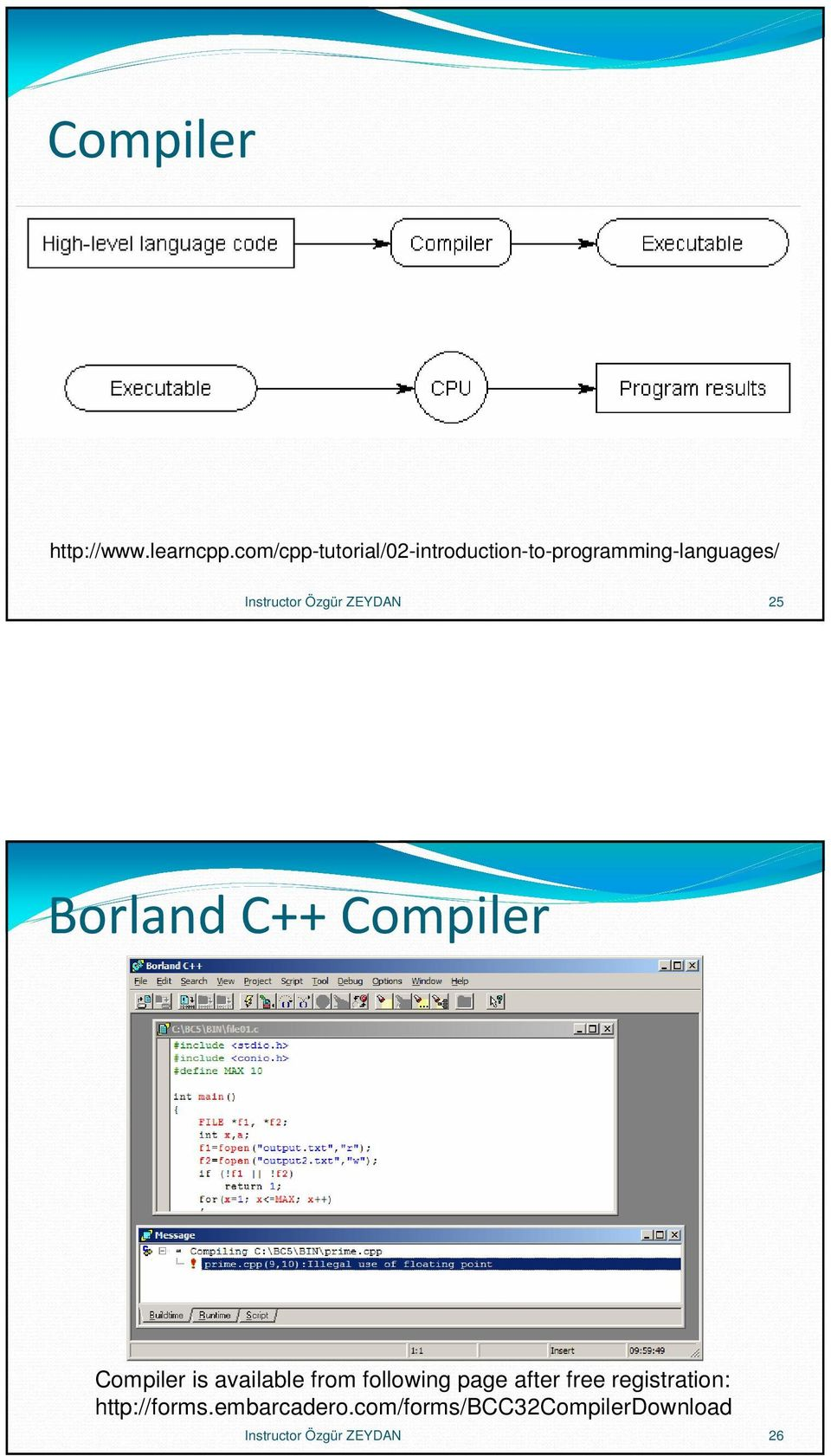 Özgür ZEYDAN 25 Borland C++ Compiler Compiler is available from