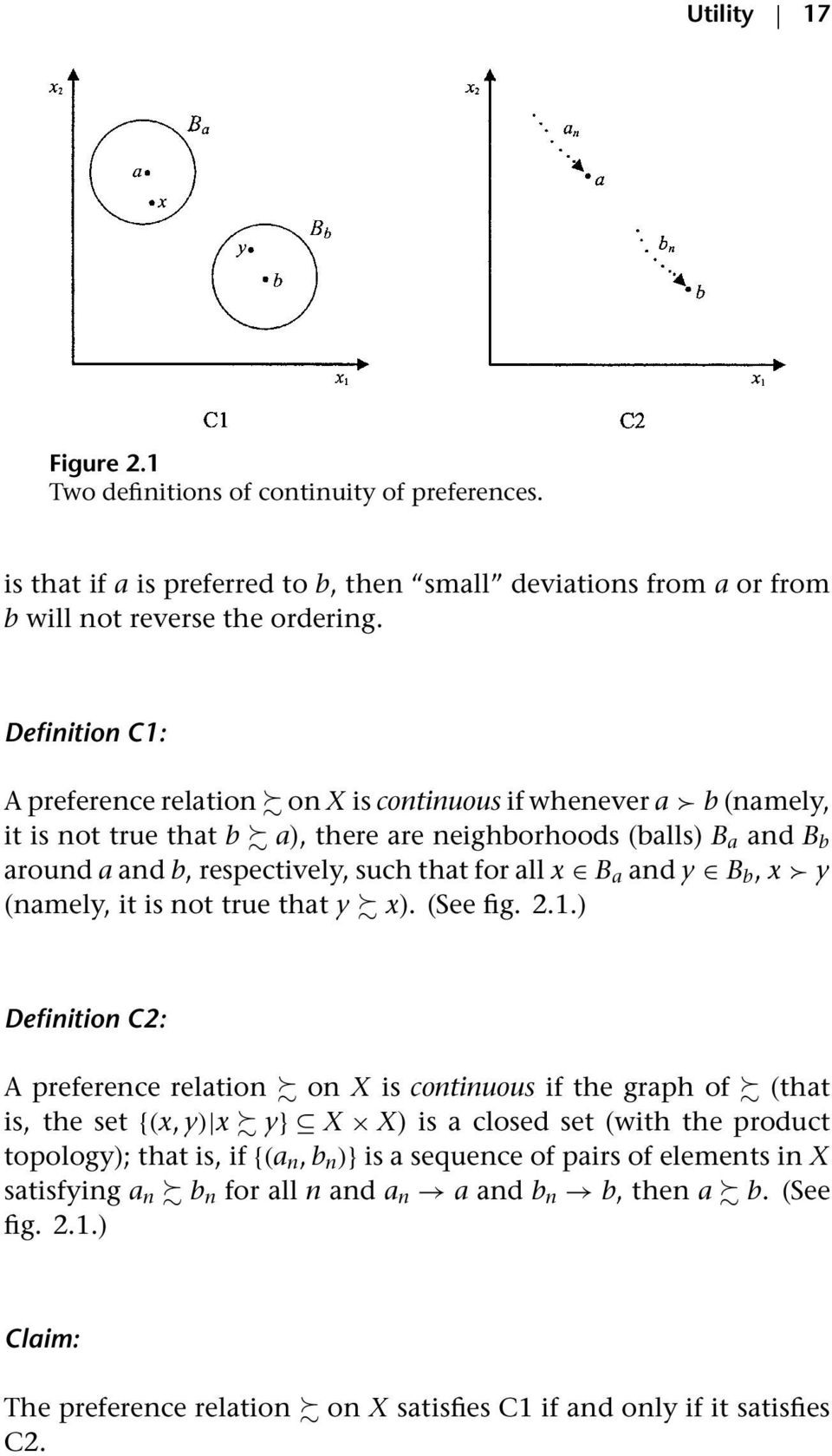 Definition C1: A preference relation on X is continuous if whenever a b (namely, it is not true that b a), there are neighborhoods (balls) B a and B b around a and b, respectively, such that for all