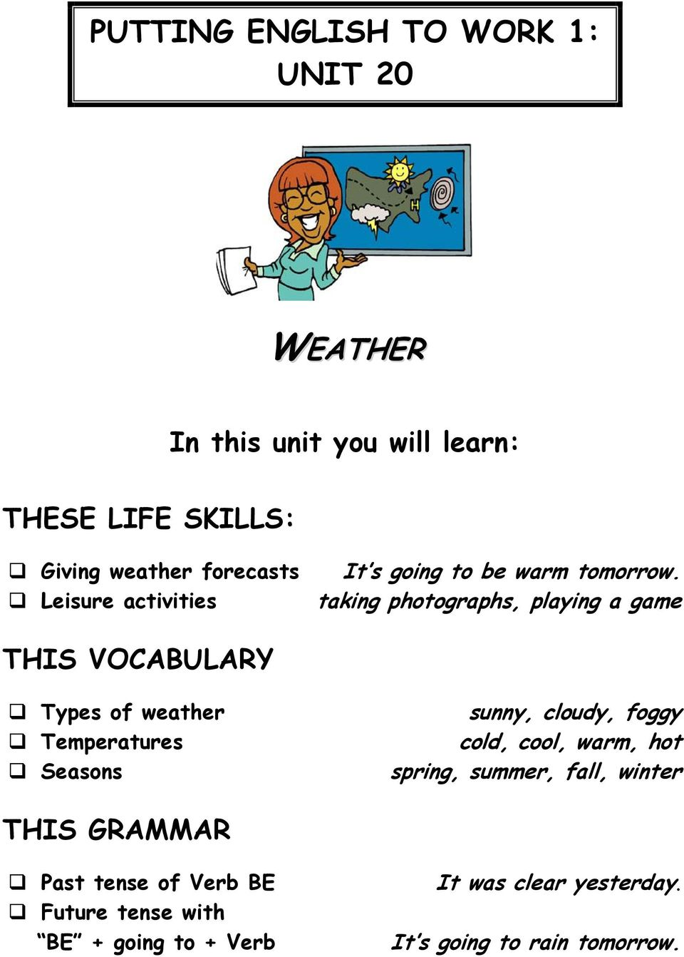 taking photographs, playing a game THIS VOCABULARY Types of weather Temperatures Seasons sunny, cloudy, foggy