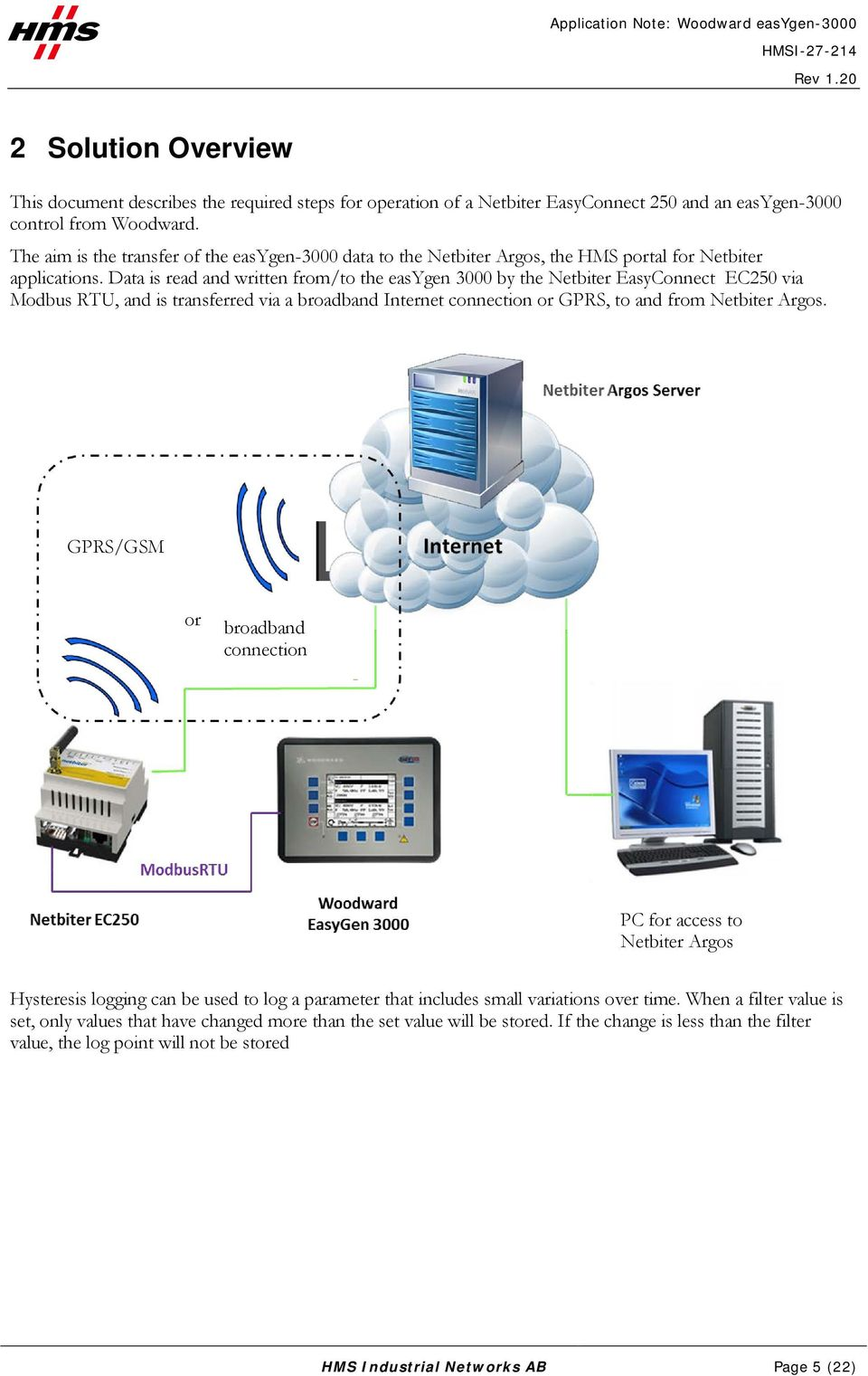 Data is read and written from/to the easygen 3000 by the Netbiter EasyConnect EC250 via Modbus RTU, and is transferred via a broadband Internet connection or GPRS, to and from Netbiter Argos.