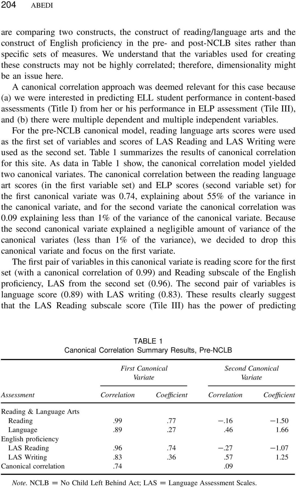 A canonical correlation approach was deemed relevant for this case because (a) we were interested in predicting ELL student performance in content-based assessments (Title I) from her or his
