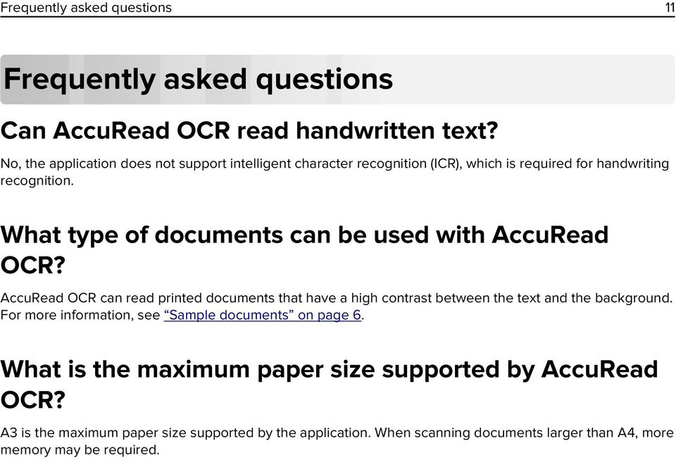What type of documents can be used with AccuRead OCR?
