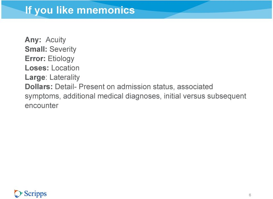 Detail- Present on admission status, associated symptoms,
