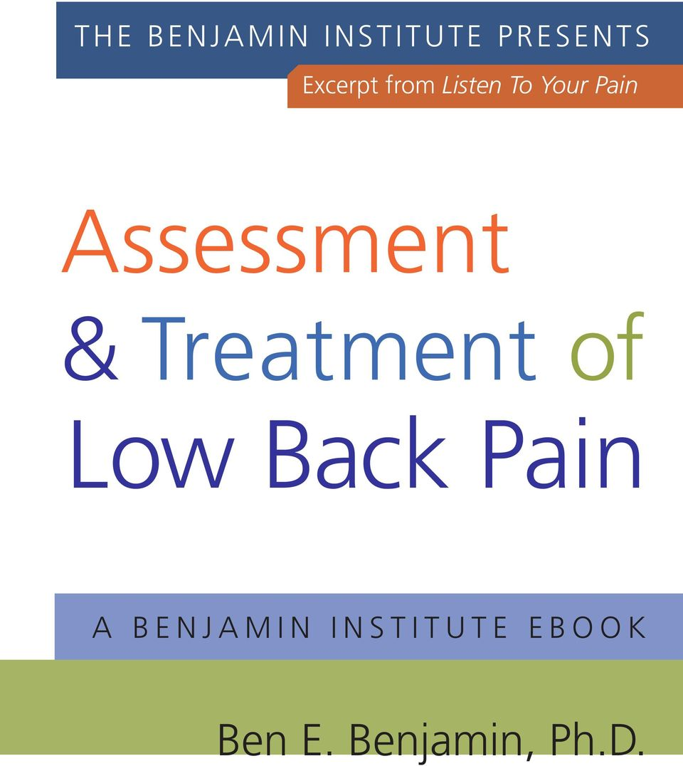 Treatment of Low Back Pain A B E N J A M I