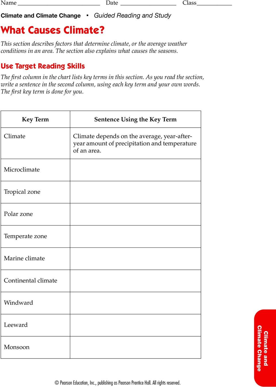 Use Target Reading Skills The first column in the chart lists key terms in this section.