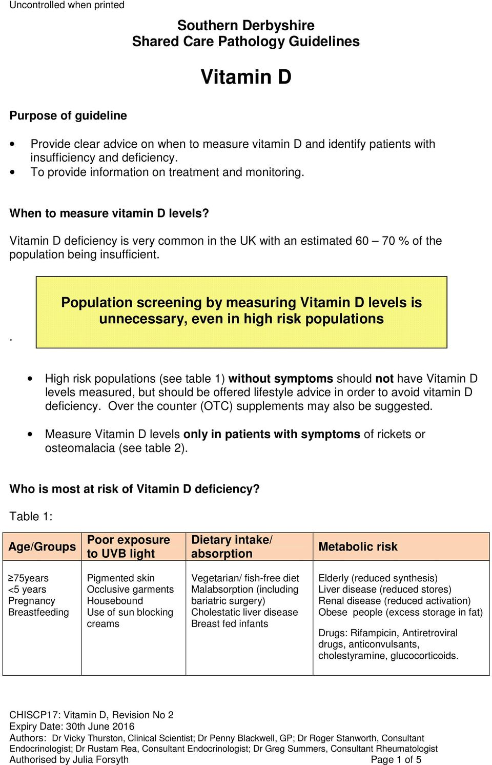 . Population screening by measuring Vitamin D levels is unnecessary, even in high risk populations High risk populations (see table 1) without symptoms should not have Vitamin D levels measured, but