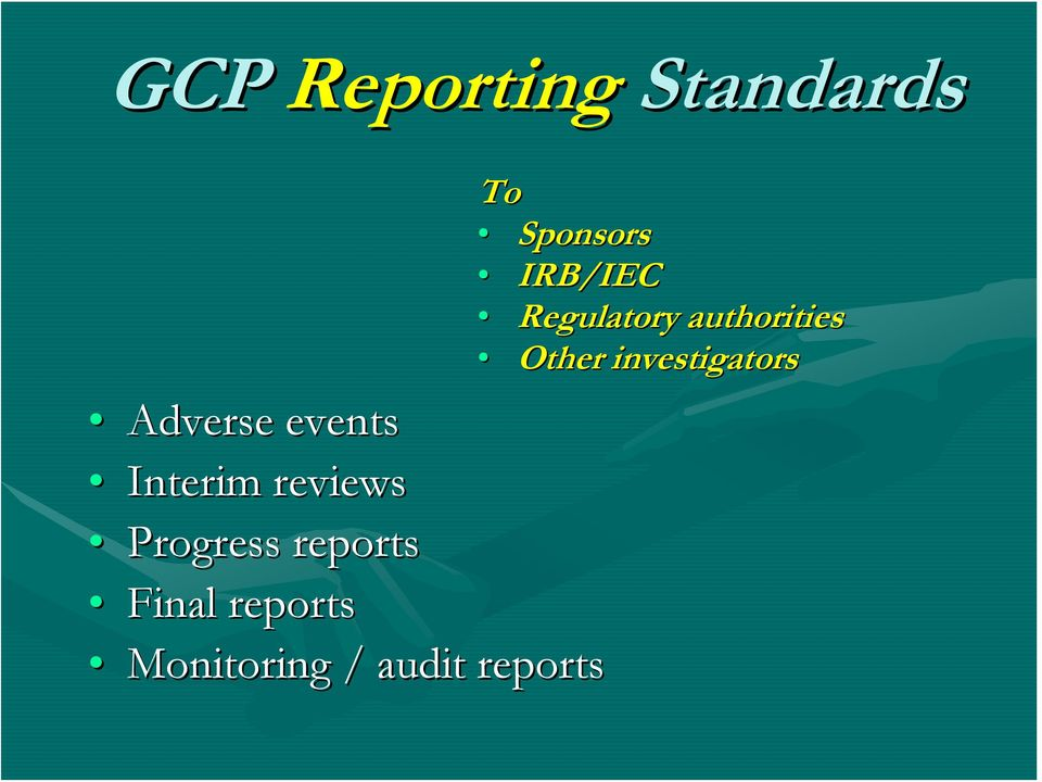 reports Monitoring / audit reports To