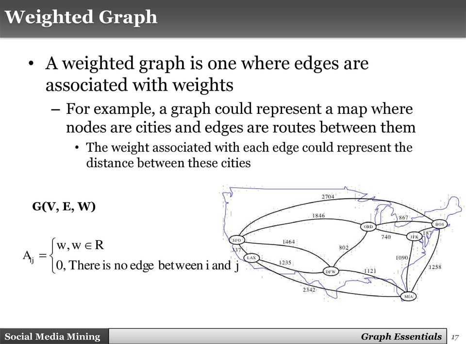 weight associated with each edge could represent the distance between these cities G(V, E,