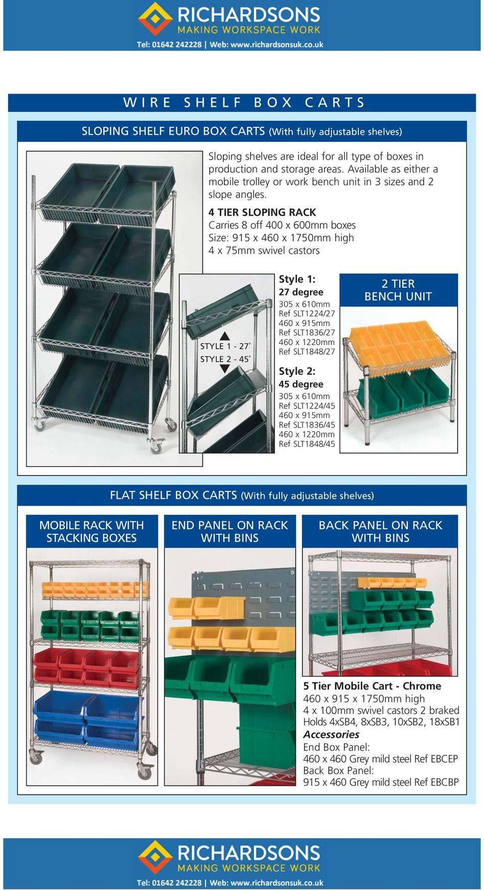 4 TIER SLOPING RACK Carries 8 off 400 x 600mm boxes Size: 915 x 460 x 1750mm high 4 x 75mm swivel castors STYLE 1-27 STYLE 2-45 Style 1: 27 degree 305 x 610mm Ref SLT1224/27 460 x 915mm Ref