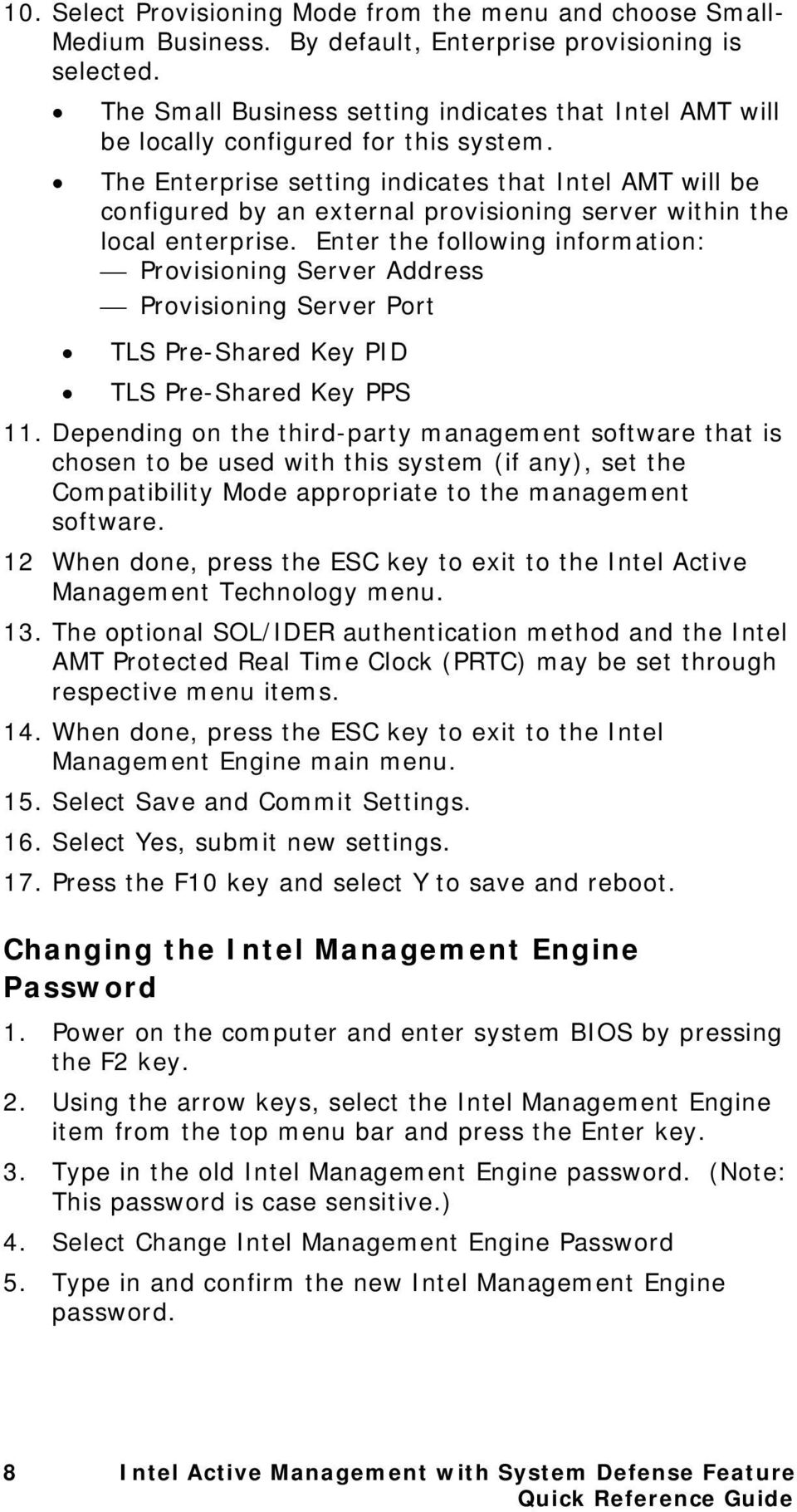 The Enterprise setting indicates that Intel AMT will be configured by an external provisioning server within the local enterprise.
