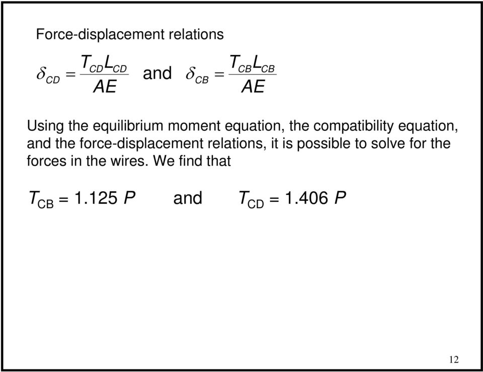 the force-displacement relations, it is possible to solve for