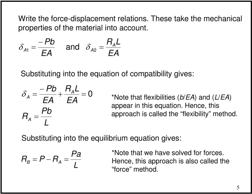 and (/E) appear in this equation. Hence, this approach is called the flexibility method.