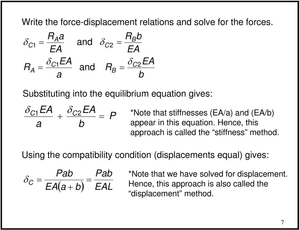 stiffnesses (E/a) and (E/b) appear in this equation. Hence, this approach is called the stiffness method.