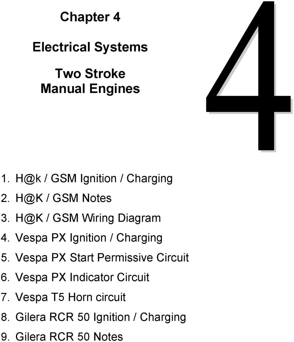 vespa vespa vo wiring diagram: technical notes and workshop reference