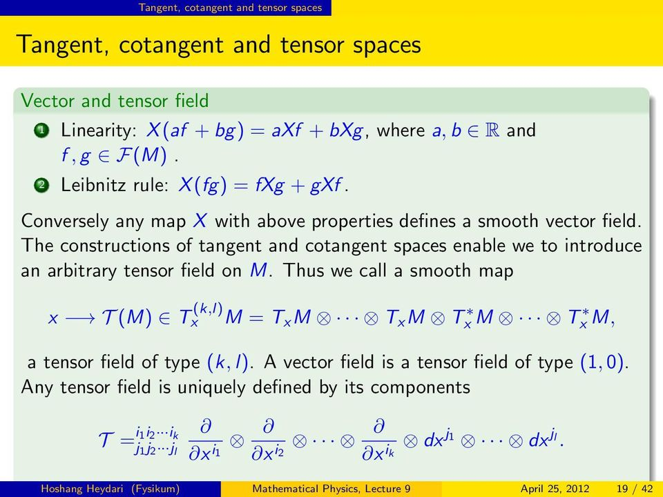 The constructions of tangent and cotangent spaces enable we to introduce an arbitrary tensor field on M.