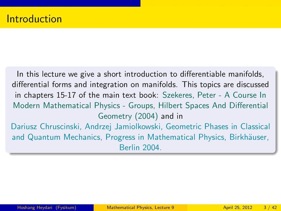 Hilbert Spaces And Differential Geometry (2004) and in Dariusz Chruscinski, Andrzej Jamiolkowski, Geometric Phases in Classical and Quantum