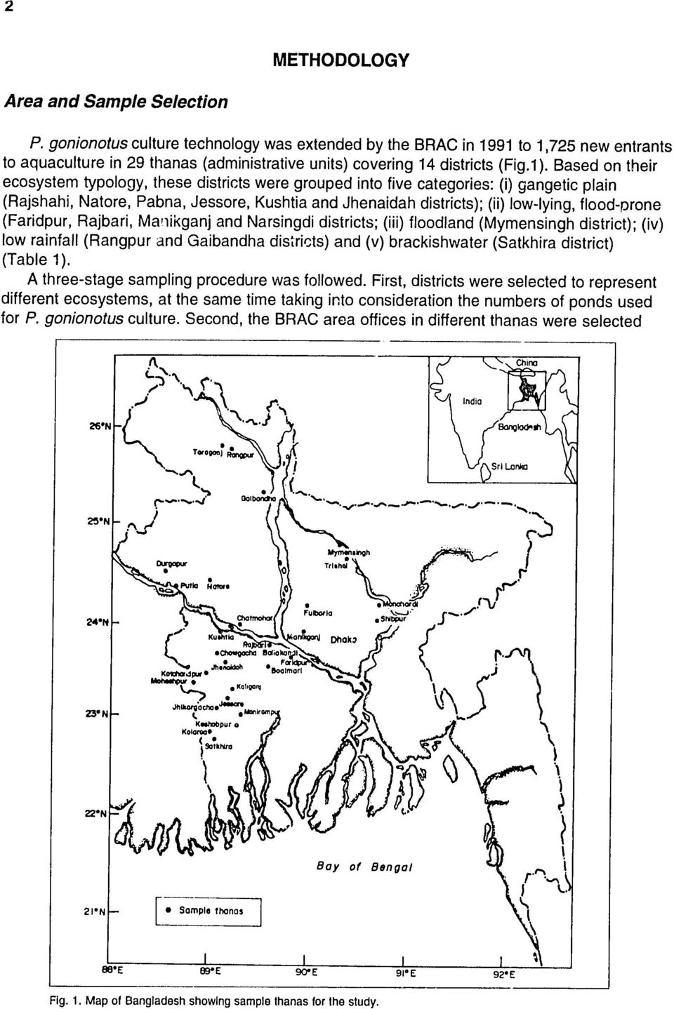 Based on their ecosystem typology, these districts were grouped into five categories: (i) gangetic plain (Rajshahi, Natore, Pabna, Jessore, Kushtia and Jhenaidah districts); (ii) low-lying,