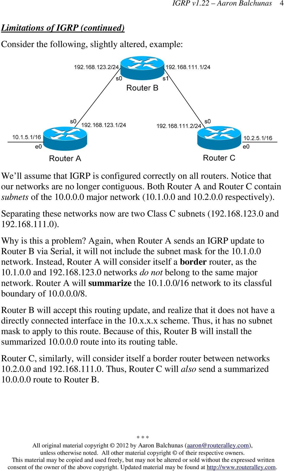 Why is this a problem? Again, when Router A sends an GRP update to Router B via Serial, it will not include the subnet mask for the 10.1.0.0 network.