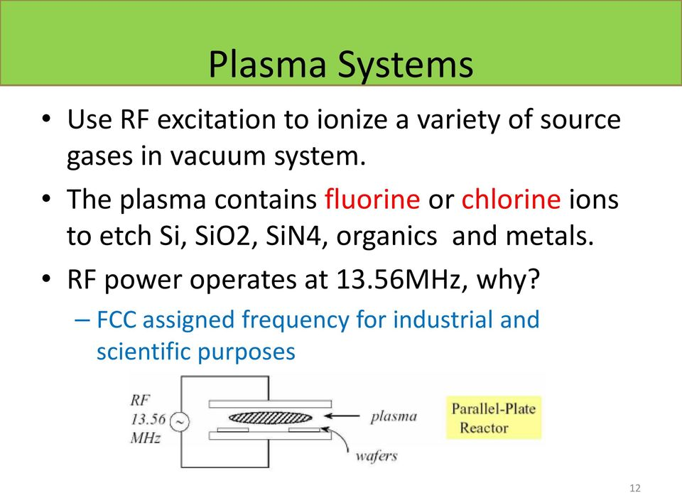 The plasma contains fluorine or chlorine ions to etch Si, SiO2, SiN4,