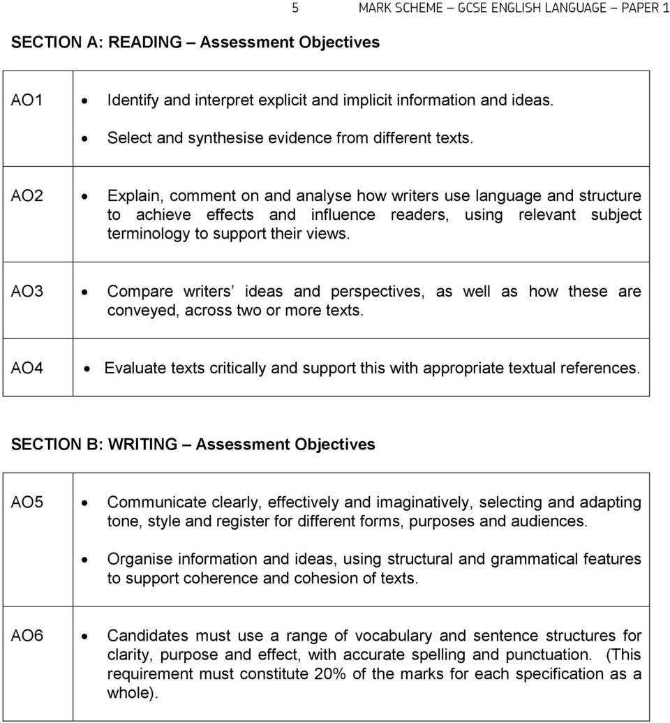 AO2 Explain, comment on and analyse how writers use language and structure to achieve effects and influence readers, using relevant subject terminology to support their views.