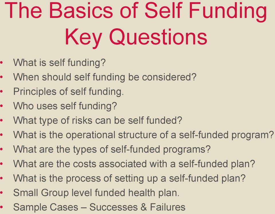 What is the operational structure of a self-funded program? What are the types of self-funded programs?