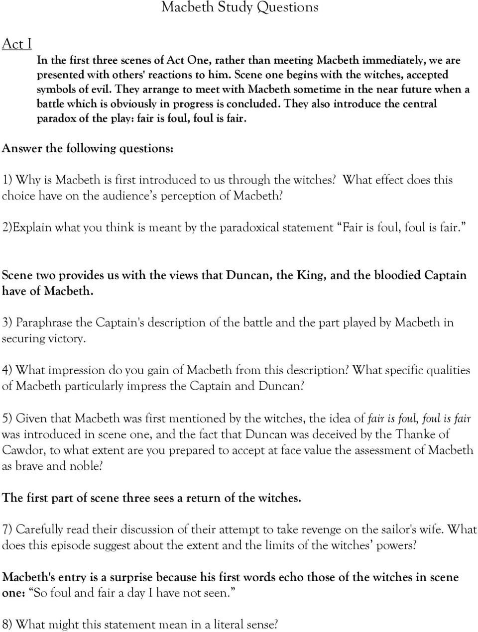macbeth study questions pdf they also introduce the central paradox of the play fair is foul foul is