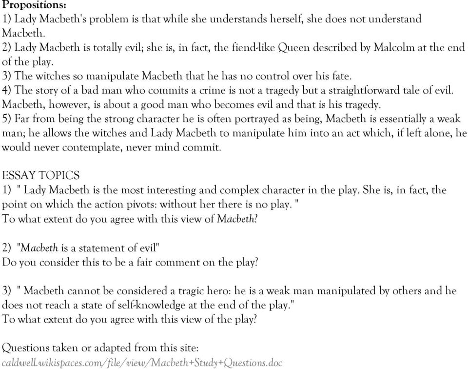 Essay Topics For Macbeth