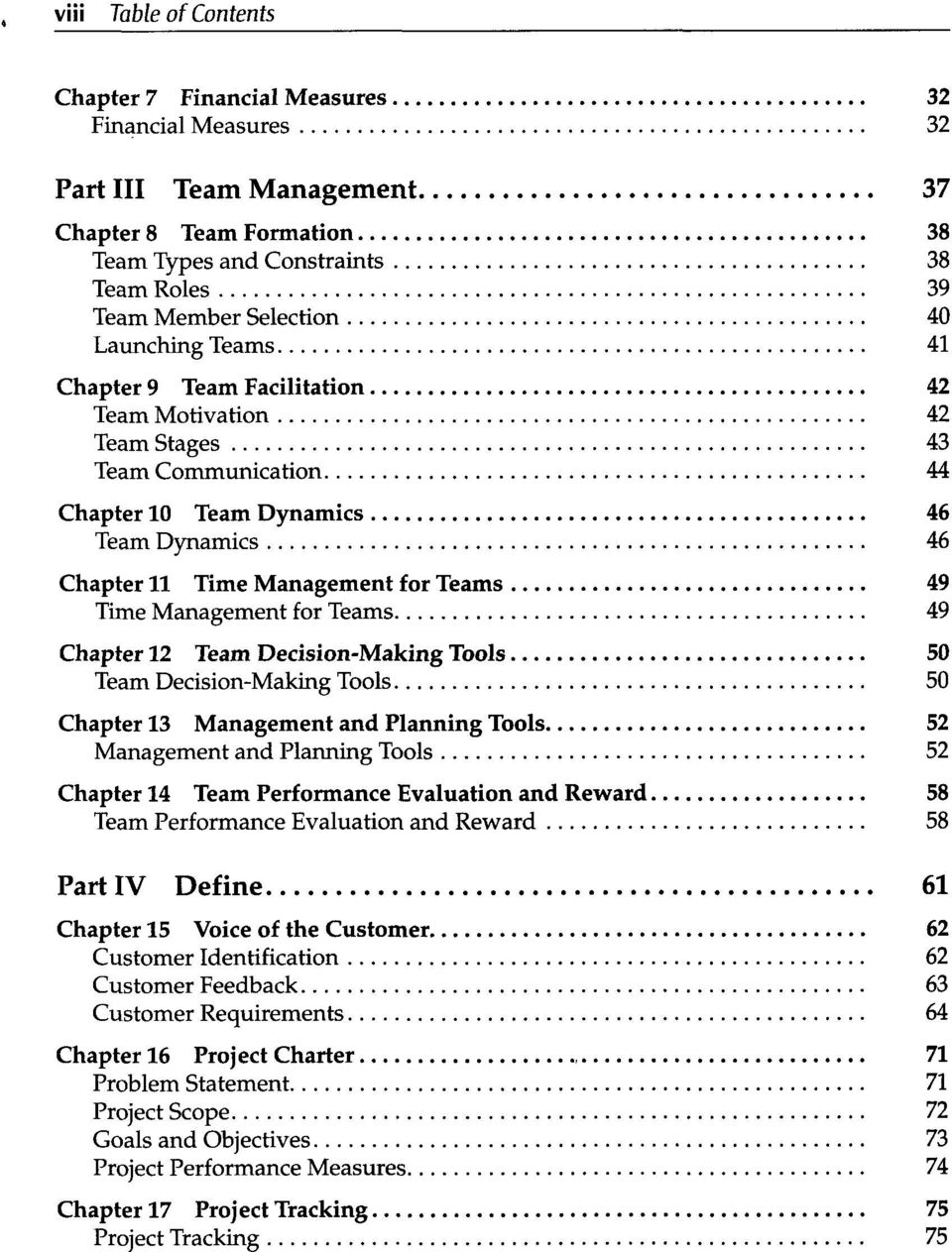 Management for Teams 49 Chapter 12 Team Decision-Making Tools 50 Team Decision-Making Tools 50 Chapter 13 Management and Planning Tools 52 Management and Planning Tools 52 Chapter 14 Team Performance