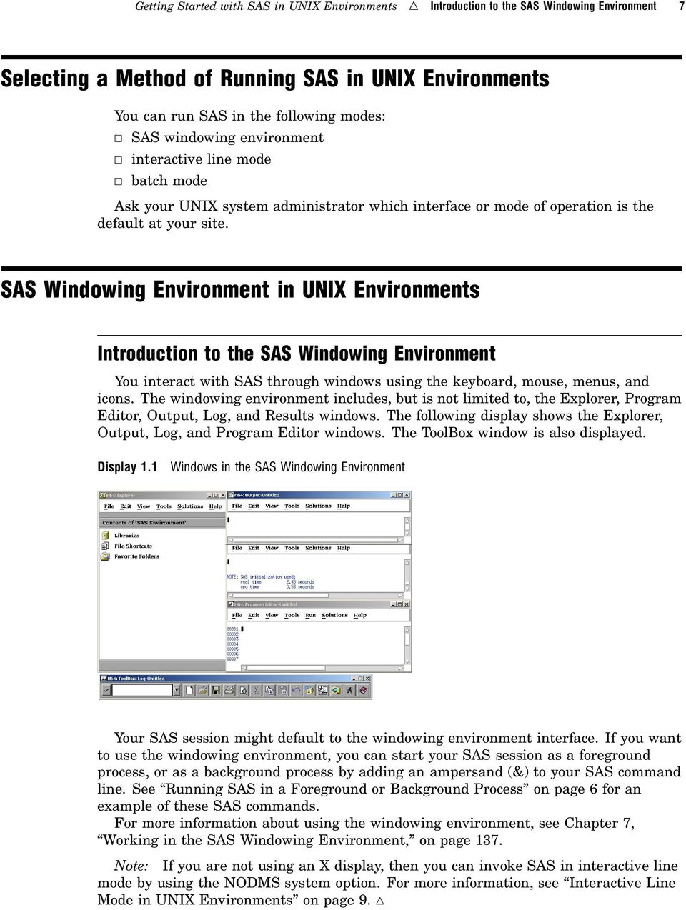 CHAPTER 1 Getting Started with SAS in UNIX Environments - PDF