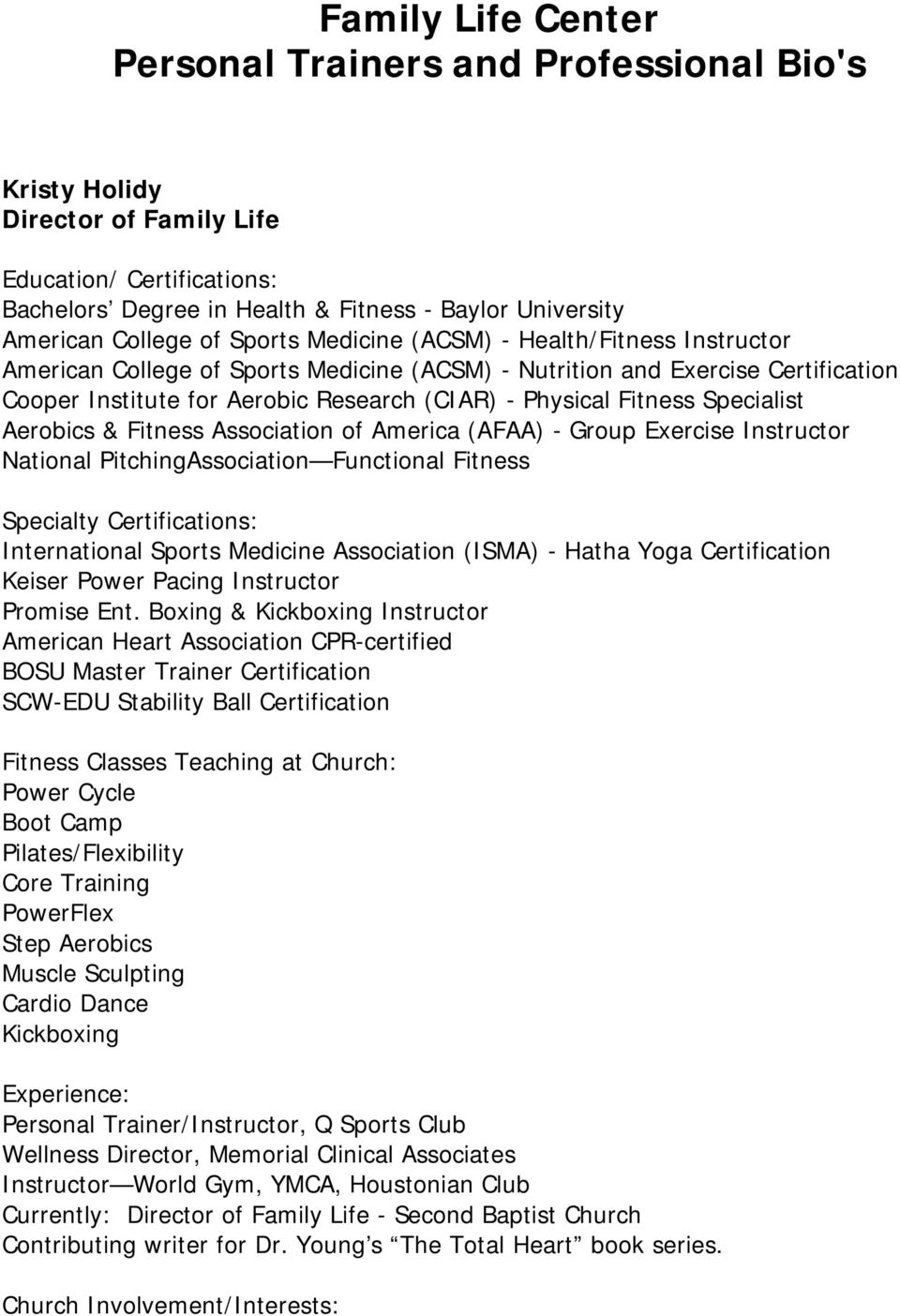 Family Life Center Personal Trainers And Professional Bios Pdf
