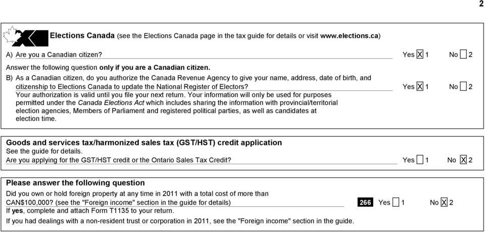 B) As a Canadian citizen, do you authorize the Canada Revenue Agency to give your name, address, date of birth, and citizenship to Elections Canada to update the National Register of Electors?
