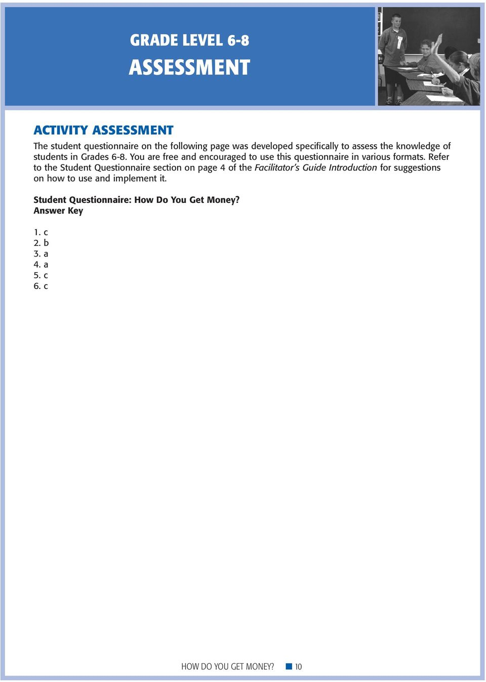 Refer to the Student Questionnaire section on page 4 of the Facilitator s Guide Introduction for suggestions on how to