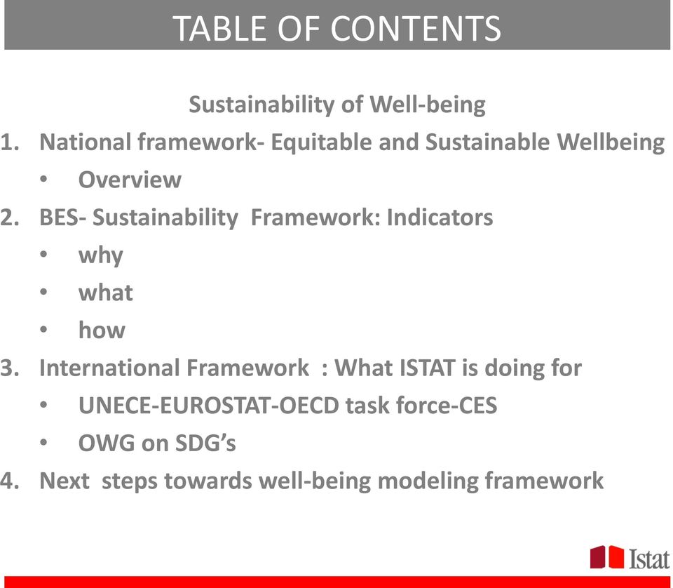 BES- Sustainability Framework: Indicators why what how 3.