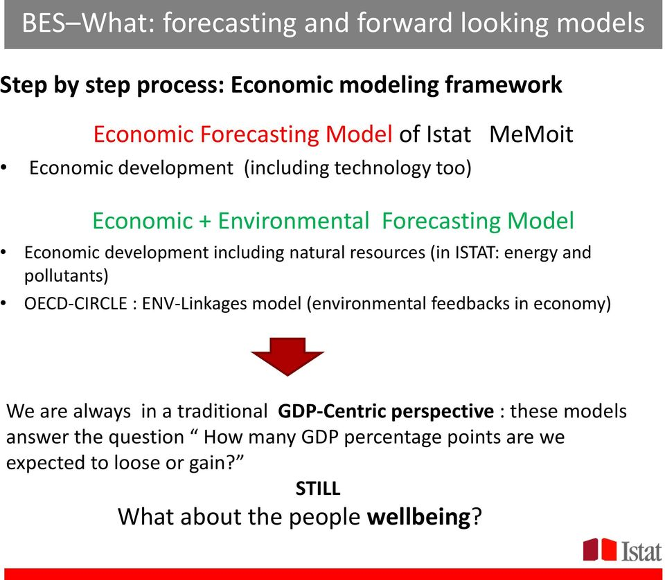ISTAT: energy and pollutants) OECD-CIRCLE : ENV-Linkages model (environmental feedbacks in economy) We are always in a traditional GDP-Centric