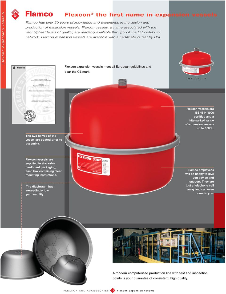 meet all European guidelines and bear the CE mark. FLEXCON 2-4 Flexcon vessels are S 4814:1990 certified and a kitemarked range of expansion vessels up to 1000L.