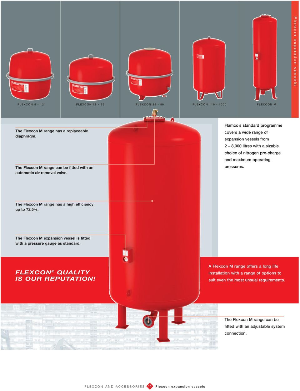 Flamco s standard programme covers a wide range of expansion vessels from 2 8,000 litres with a sizable choice of nitrogen pre-charge and maximum operating pressures.