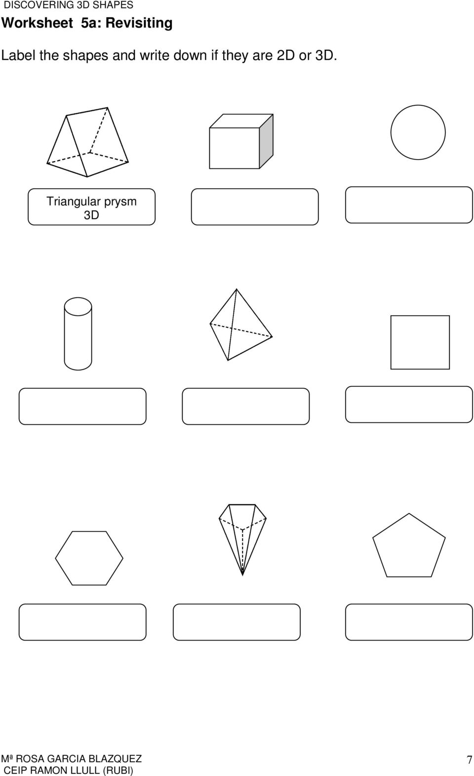 worksheet Non Symmetrical Shapes Worksheet discovering 3d shapes pdf write down if they are