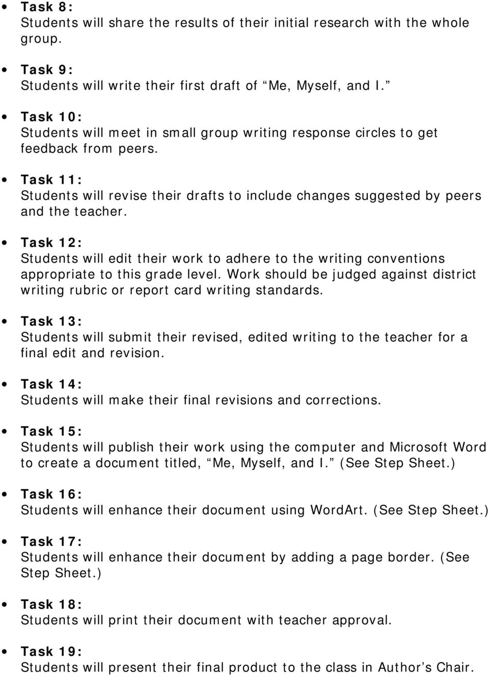 Task 12: Students will edit their work to adhere to the writing conventions appropriate to this grade level. Work should be judged against district writing rubric or report card writing standards.