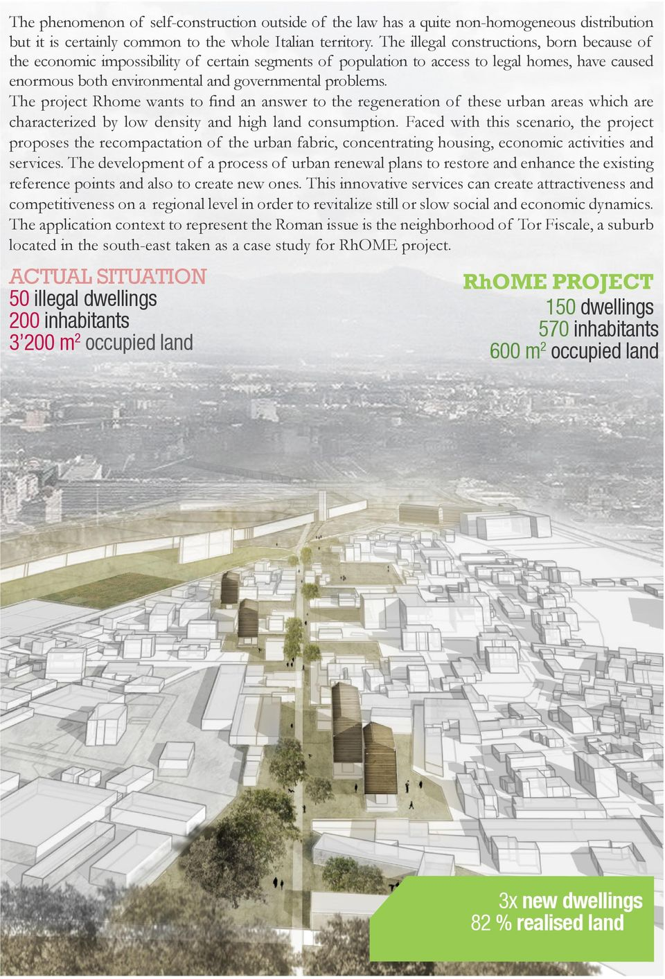 The project Rhome wants to find an answer to the regeneration of these urban areas which are characterized by low density and high land consumption.