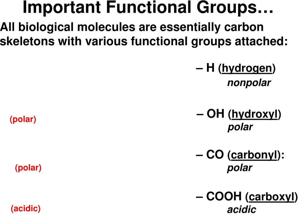 groups attached: (hydrogen) nonpolar (polar) O (hydroxyl)