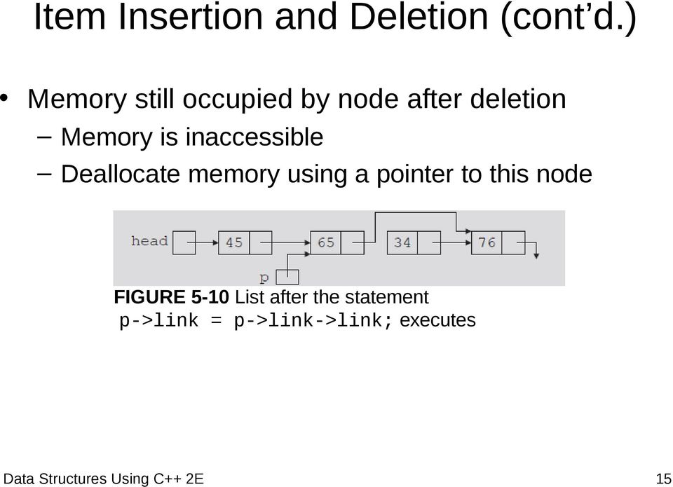 inaccessible Deallocate memory using a pointer to this node