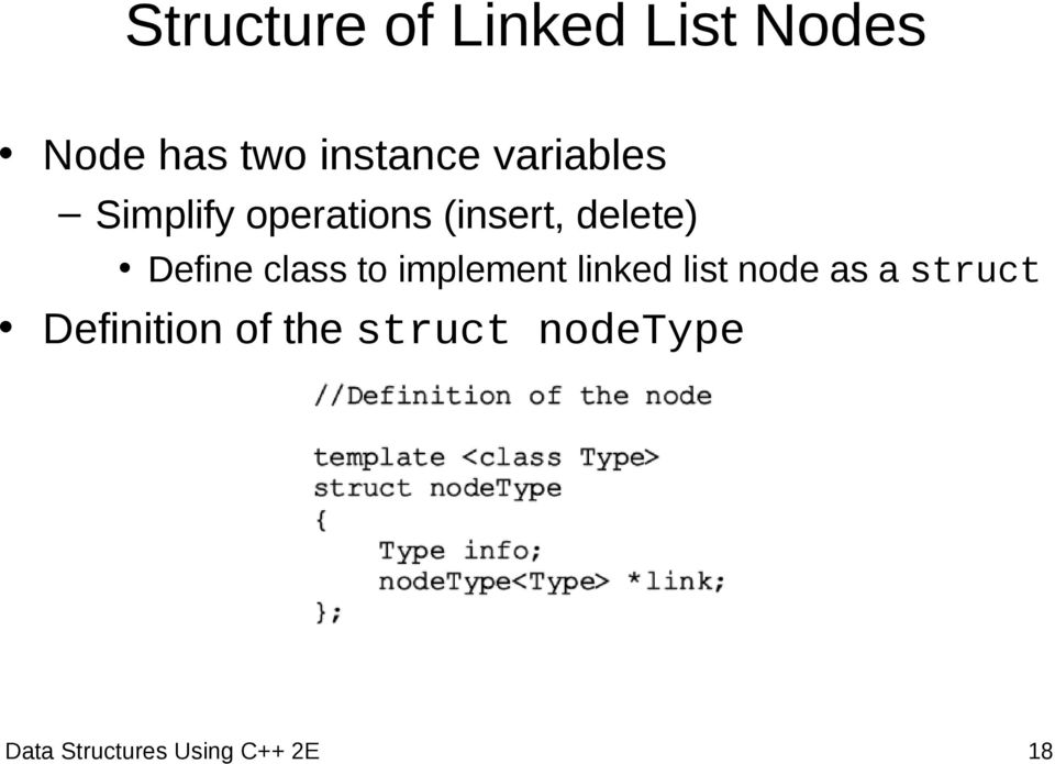 class to implement linked list node as a struct