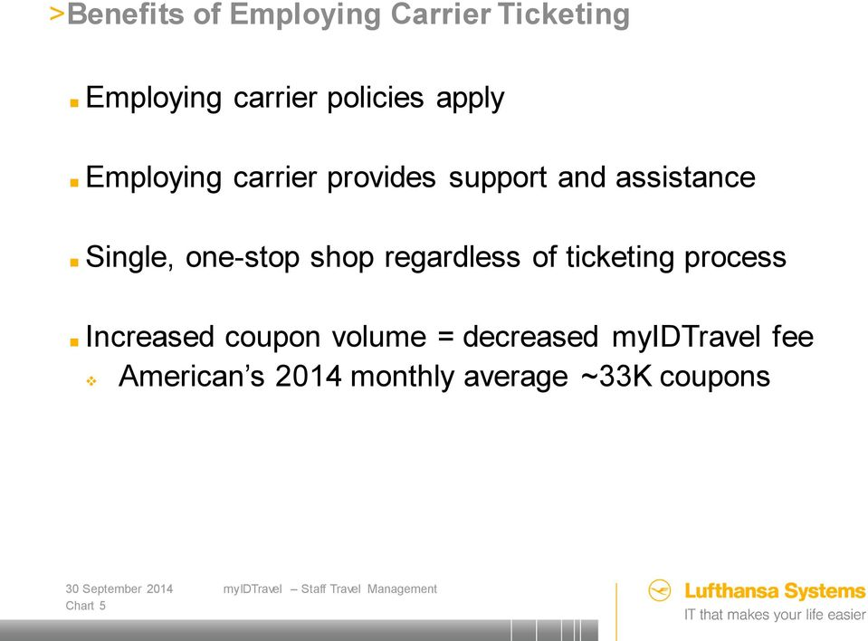 one-stop shop regardless of ticketing process Increased coupon volume