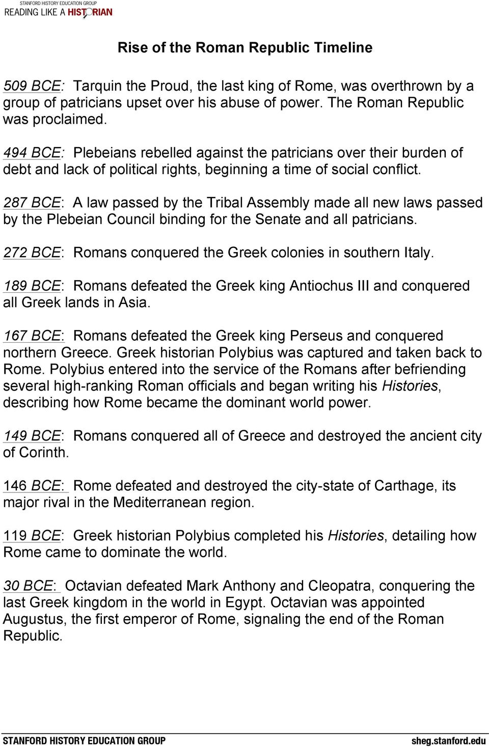 287 BCE: A law passed by the Tribal Assembly made all new laws passed by the Plebeian Council binding for the Senate and all patricians. 272 BCE: Romans conquered the Greek colonies in southern Italy.