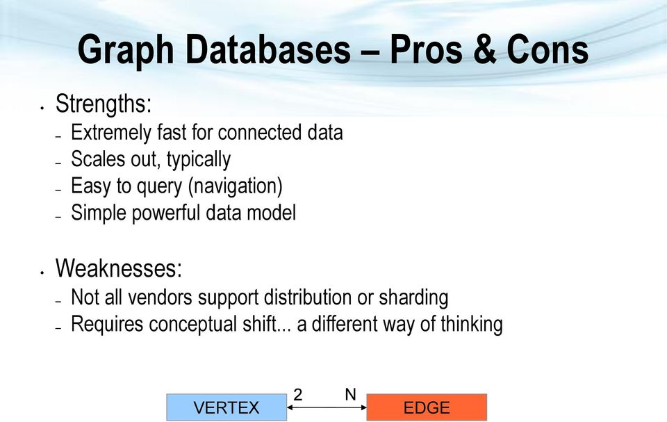 data model Weaknesses: Not all vendors support distribution or