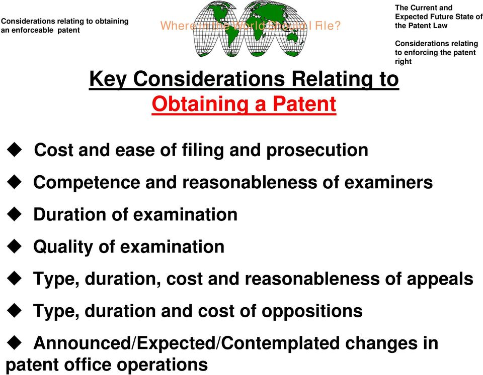 Key Considerations Relating to Obtaining a atent Type, duration, cost and reasonableness of appeals Type, duration and cost of