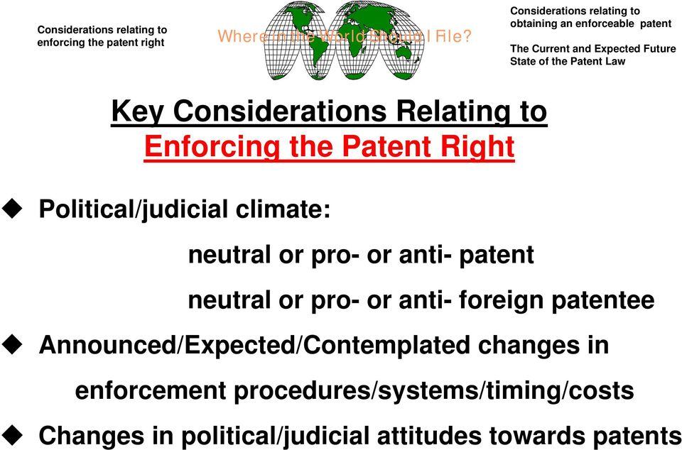 Considerations Relating to nforcing the atent Right olitical/judicial climate: neutral or pro- or anti- patent neutral or