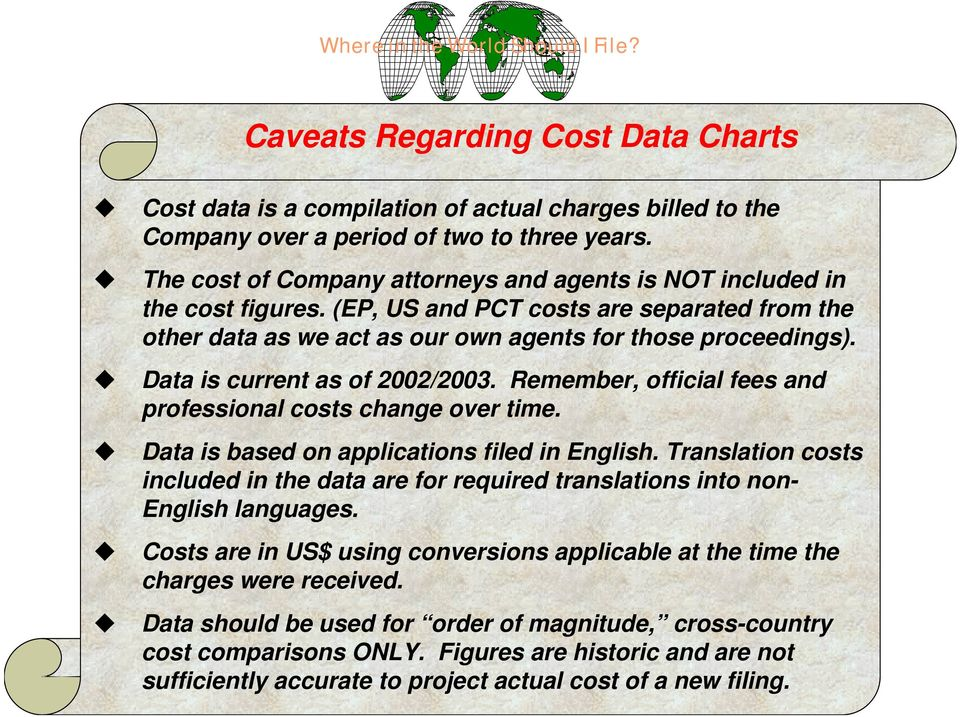 Data is current as of 2002/2003. Remember, official fees and professional costs change over time. Data is based on applications filed in nglish.