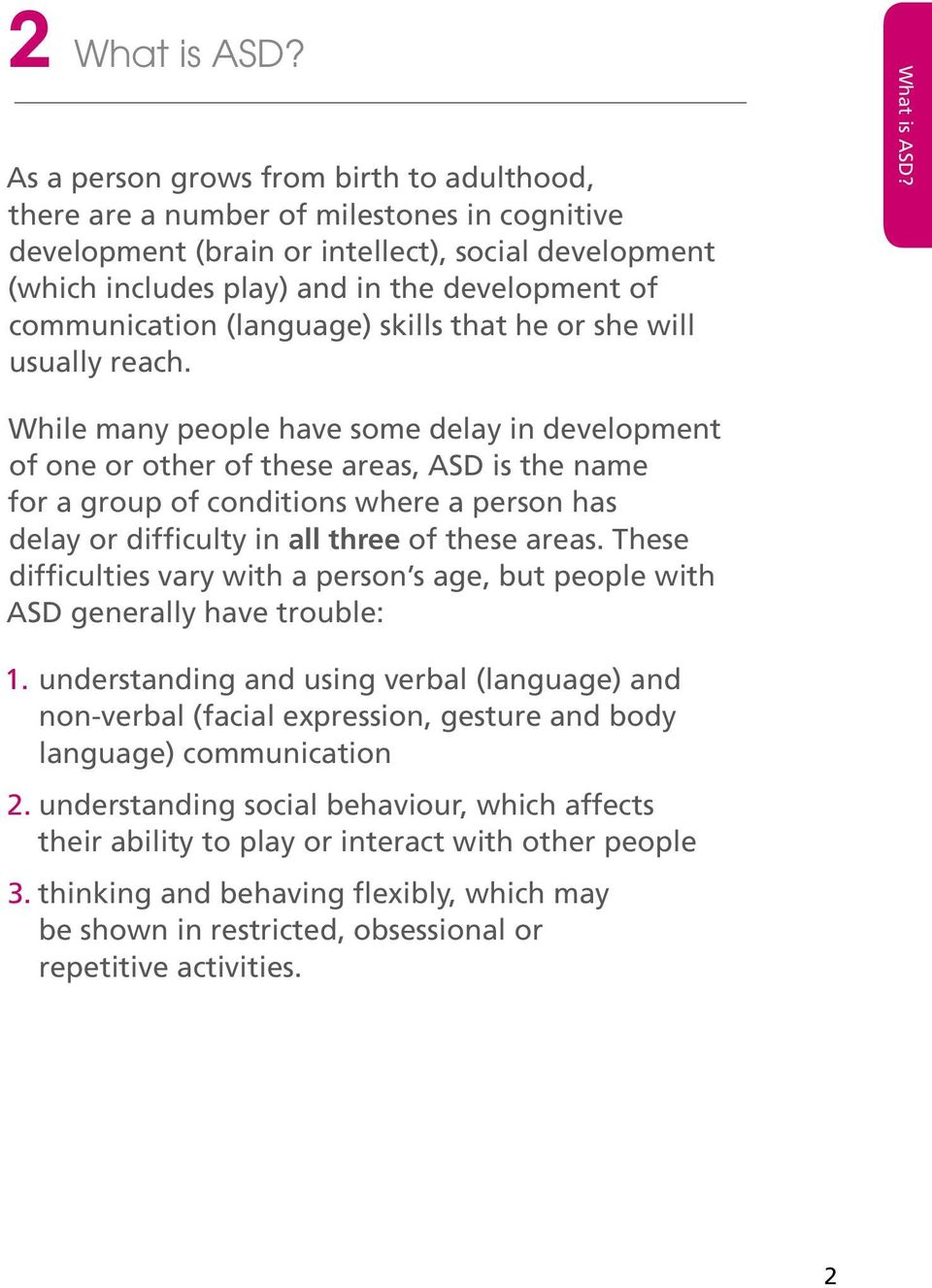 communication (language) skills that he or she will usually reach. What is ASD?